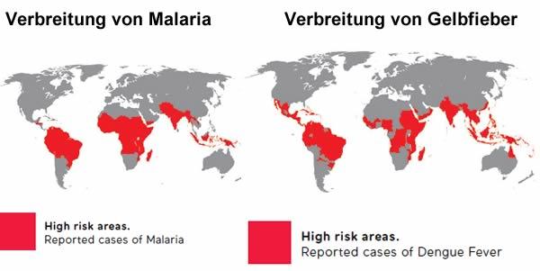 Verbreitung von Malaria und Dengue Fieber weltweit