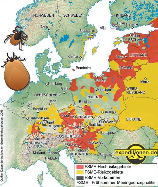 Gebiete, in denen Borreliose verzeichnet ist