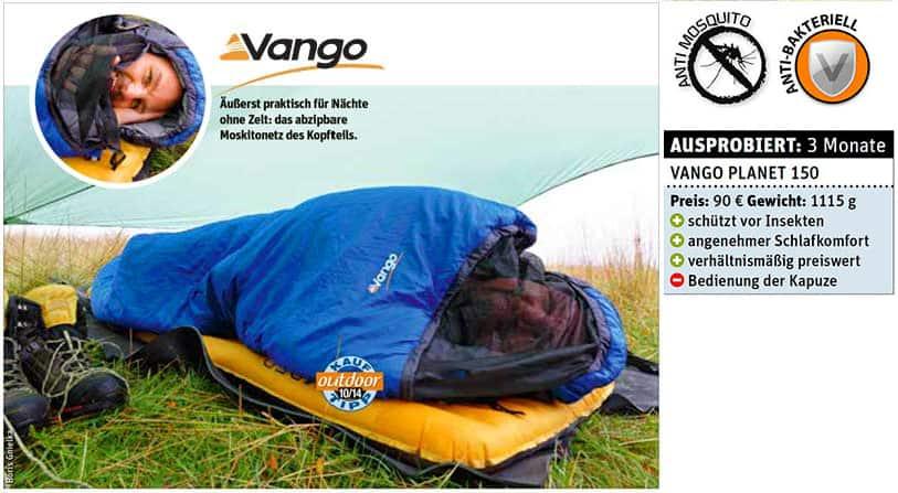 Outdoor Test 10/14 - Der Moskitosichere Schlafsack Planet 50 von Vango
