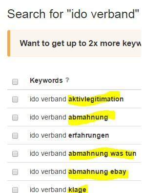 """Die ersten 9 Keyword zu IDO VERBAND ÜBER """"Keywordtool.io"""""""