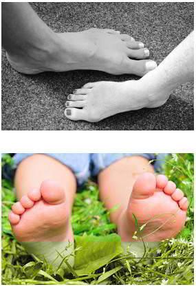 Damen und Herren Füße im Vergleich