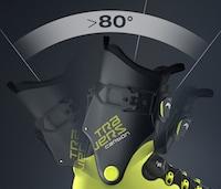 Bis zu 80° Schaftrotation sind beim Fischer Travers Stiefel möglich