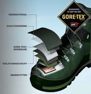 Viele Schuh-Hersteller wie Lowa, Salomon oder Meindl verwenden Gore-Tex Materialien