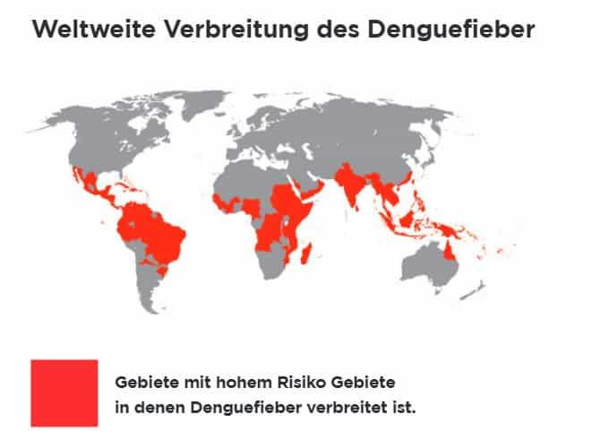 Weltweite Gebiete in denen das Dengue Fiber verbreitet ist