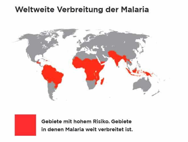 Weltweite Gebiete, in denen Malaria verbreitet ist
