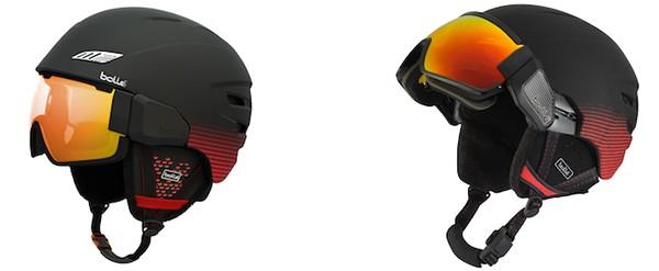 Bollé befestigt die Brille über ein Scharnier am Helm, sodass sie wie ein Visier nach oben geklappt werden kann.