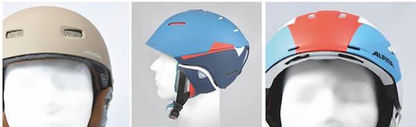 Abb.: links - Hardshell-Helm: ABS-Außen-,EPS-Innenschale; mitte - Inmold-Helm: PC-Außen-, EPS-Innenschale; rechts - Hybridhelm: unten PR-Außen- und EPS-Innenschale, oben ABS-Außen-, EPS-Innenschale