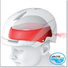 Dieses Kopfband, das sich bei einigen Modellen von selbst mit Luft füllt, passt sich ebenfalls der Kopfform an. Über einen Knopf wird die Luft wieder abgelassen.