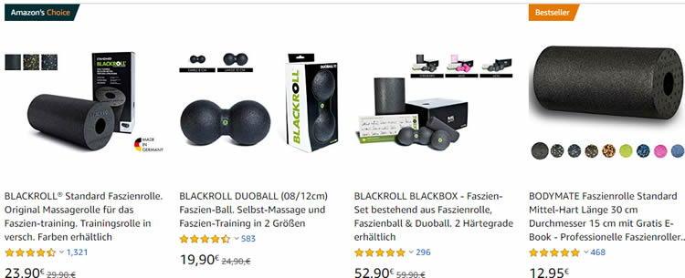 Hier die beliebtesten Faszienrollen und Bälle von BLACKROLL bei Amazon