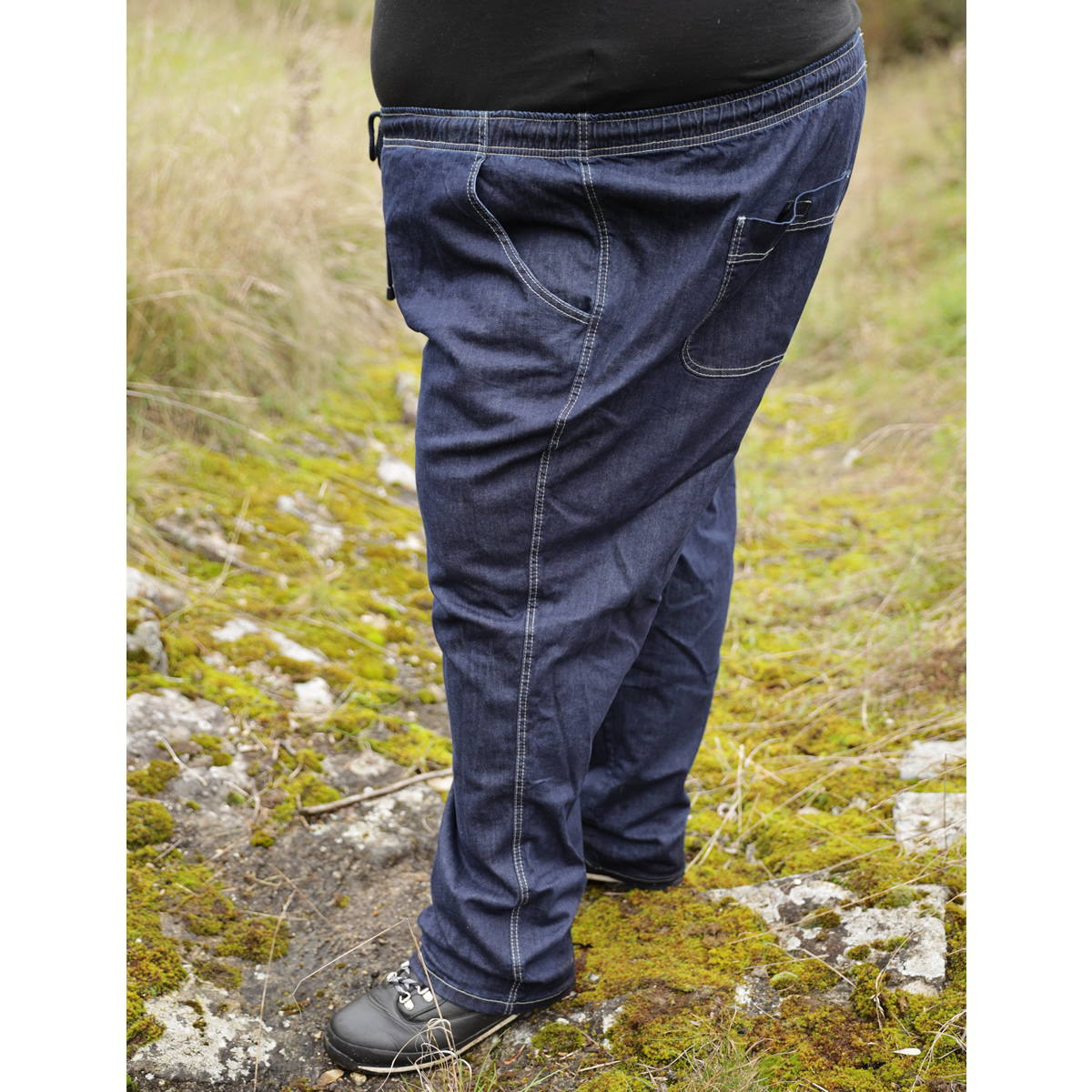49b29d8e78ae9 XXL Schlüpf Jeans Hose mit Gummibund Herren Übergrößen