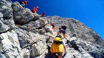 Bergsteigen bei einer Tour