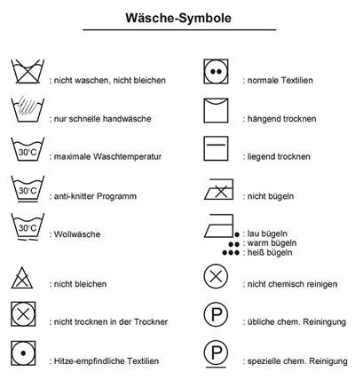 Symbole für Wäsche